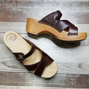 Dansko brown leather slip on sandals size 37
